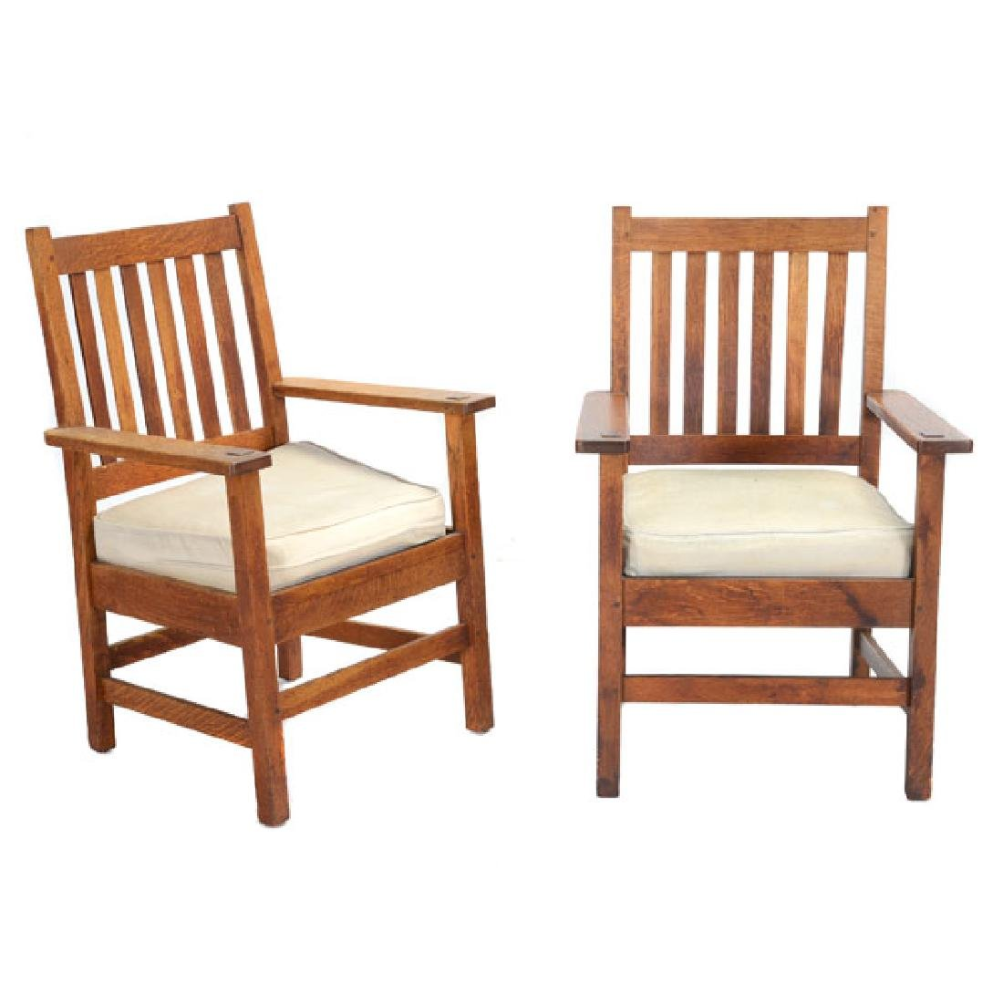 Pair of Stickley Bros. Mission Style Oak Armchairs
