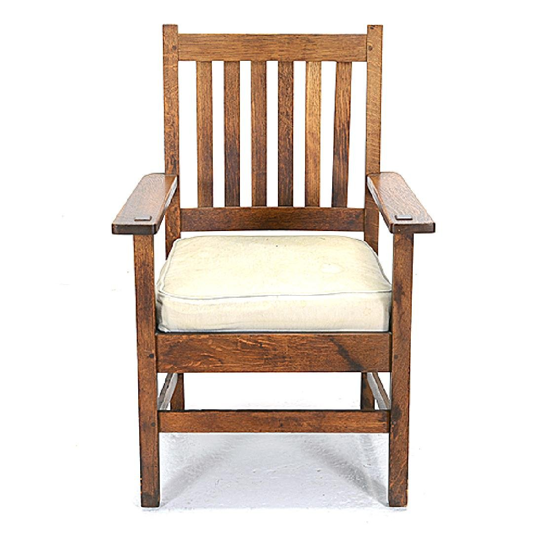 Pair of Stickley Bros. Mission Style Oak Armchairs - 2