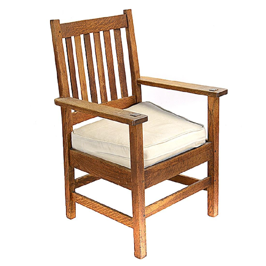 Pair of Stickley Bros. Mission Style Oak Armchairs - 3