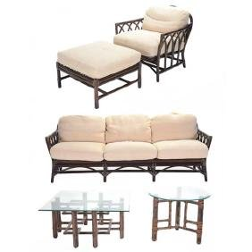 Assembled Suite of McGuire Rattan Living Room