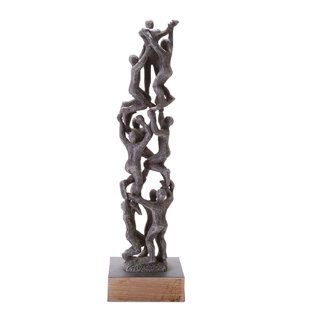 Modern Figural Cast Metal Sculpture, Signed F. - 2