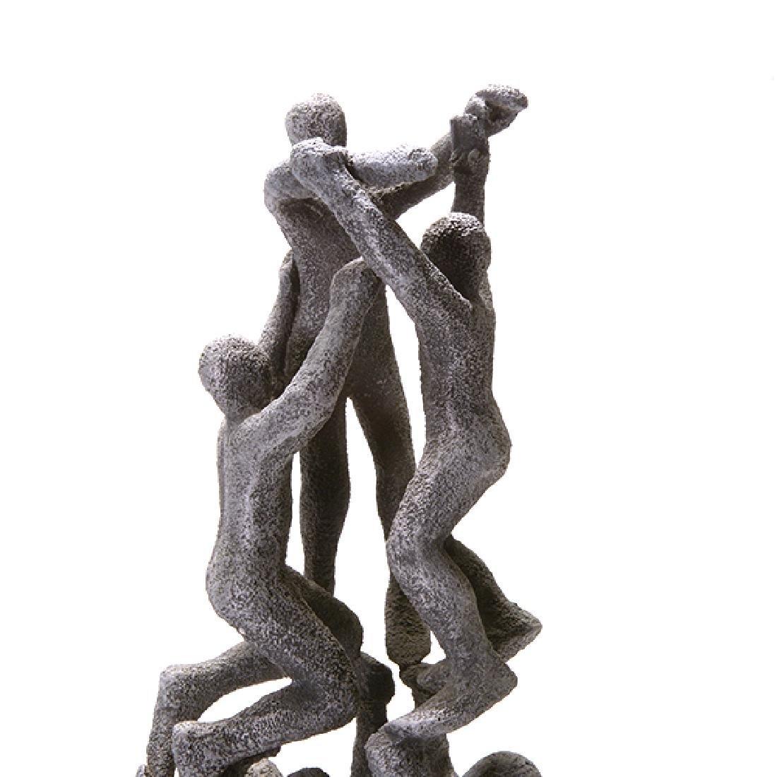 Modern Figural Cast Metal Sculpture, Signed F. - 5