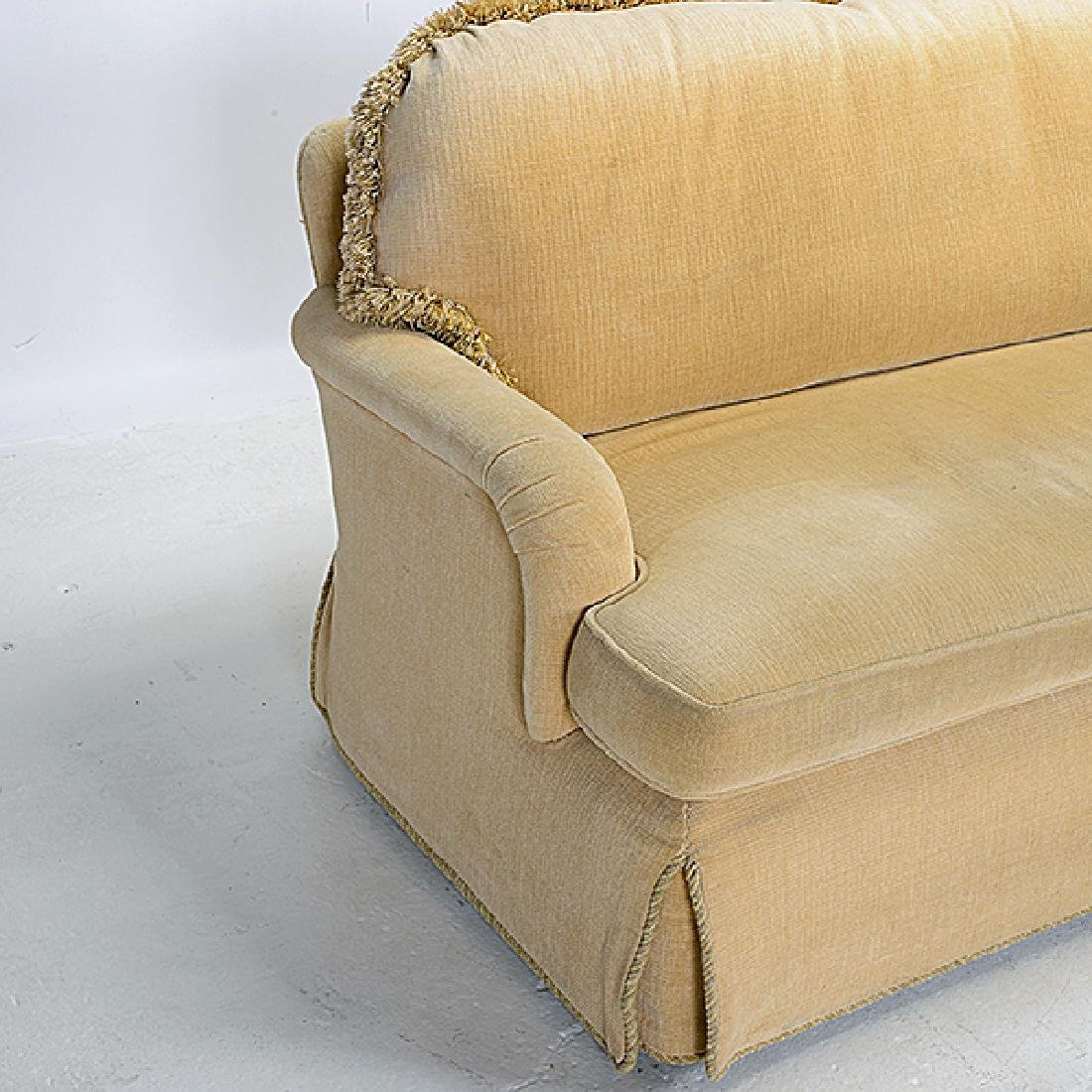 Pair of Gold Chenille Upholstered Marco Sofas - 2