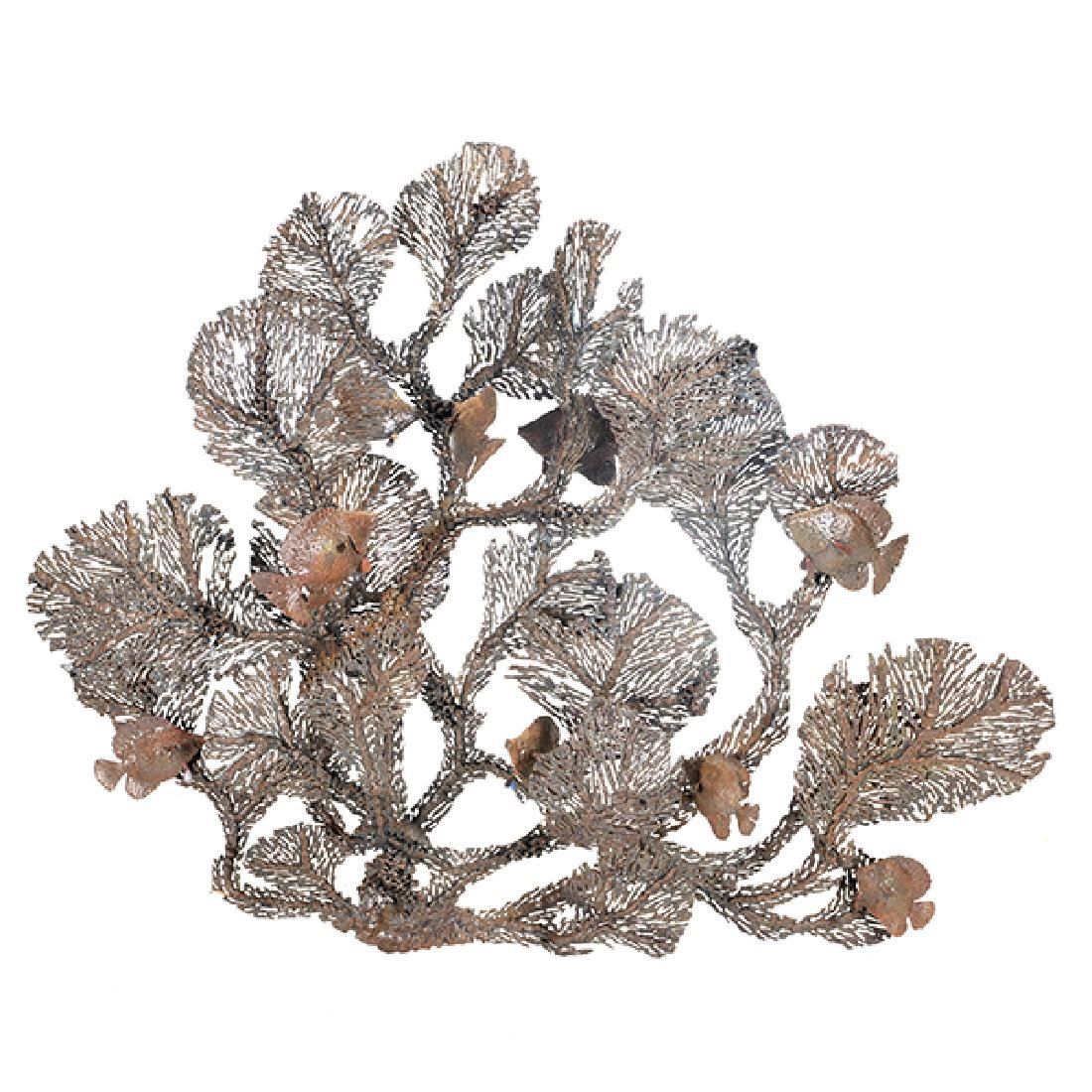 Curtis Jere Coral and Fish Metal Hanging Sculpture