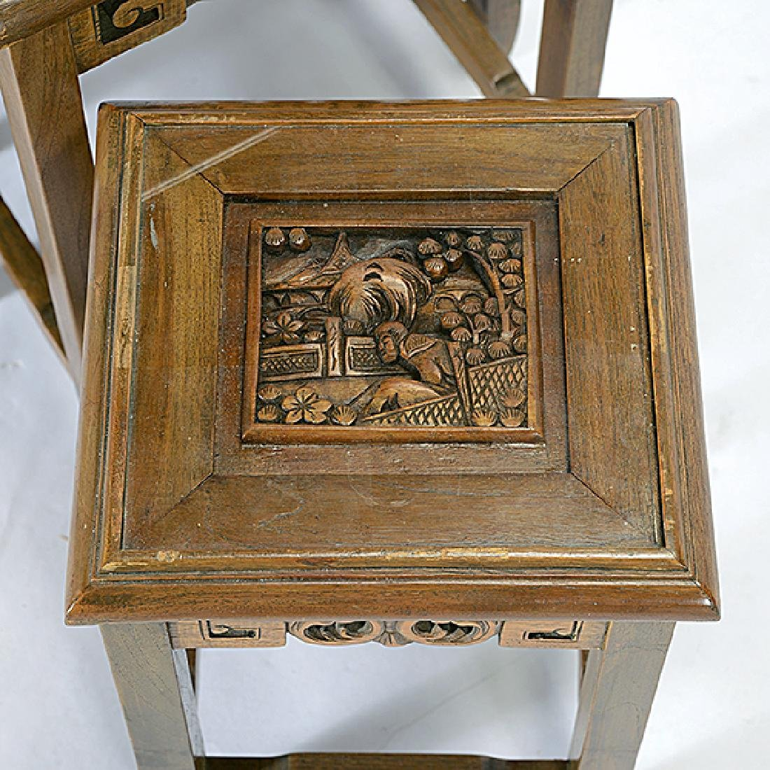 Set of Four Nesting Tables with Carved Figural - 2