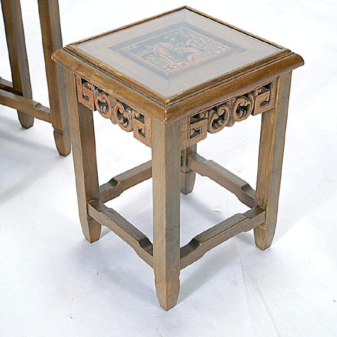 Set of Four Nesting Tables with Carved Figural - 3