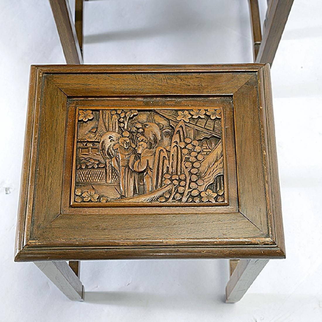 Set of Four Nesting Tables with Carved Figural - 4