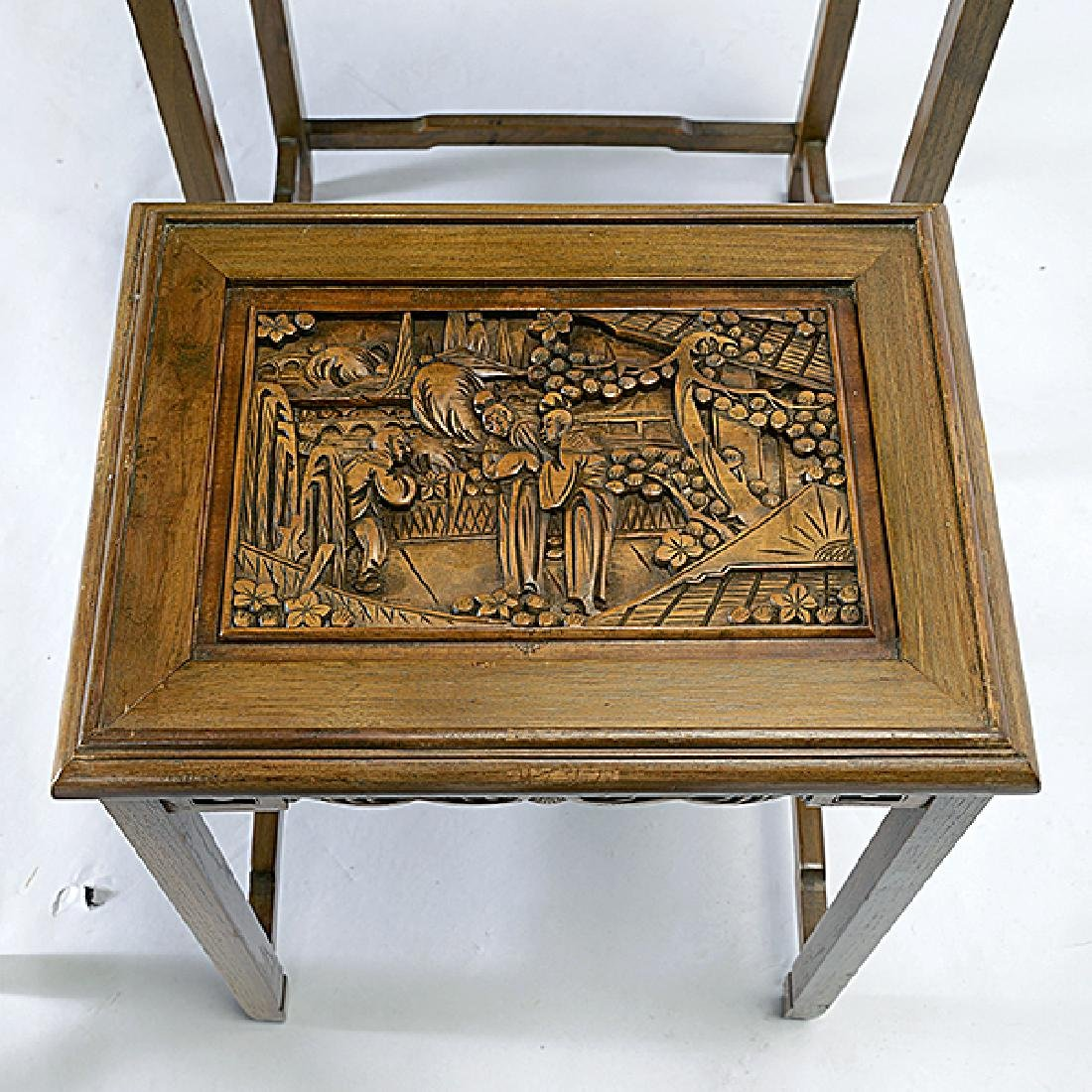 Set of Four Nesting Tables with Carved Figural - 5