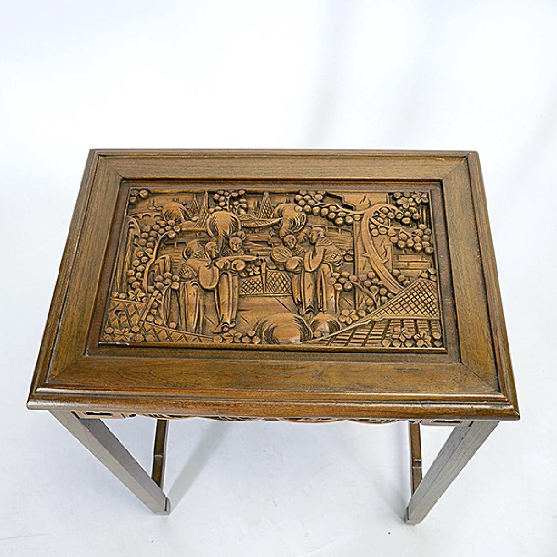 Set of Four Nesting Tables with Carved Figural - 6