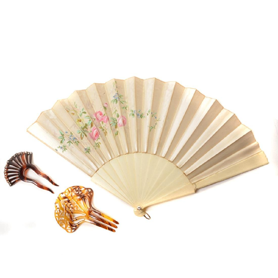Collection of Ladies' Fans and Two Combs - 6