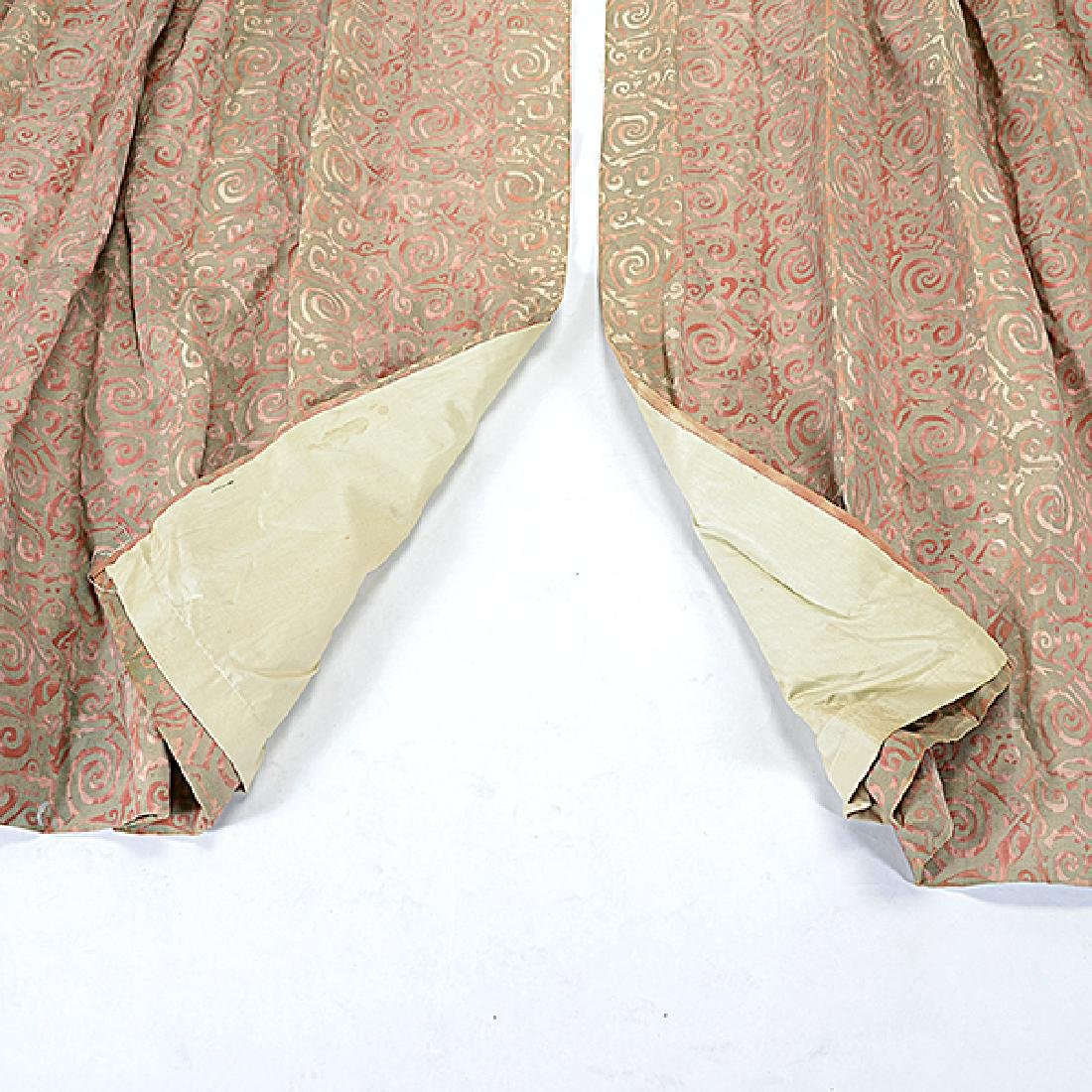 """Four Panels of Fortuny """"Maori"""" Pattern Curtains - 5"""