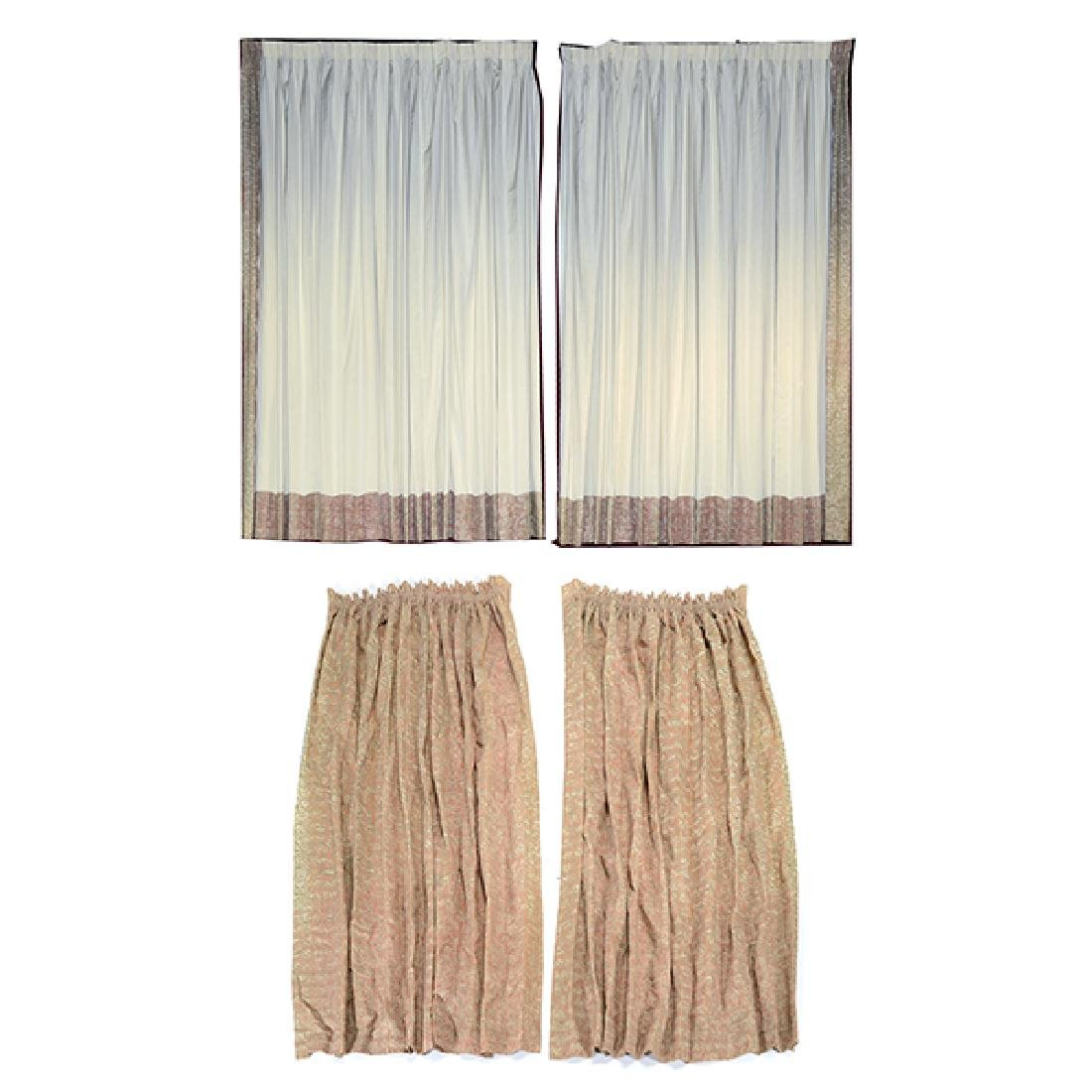 """Four Panels of Fortuny """"Maori"""" Pattern Curtains"""