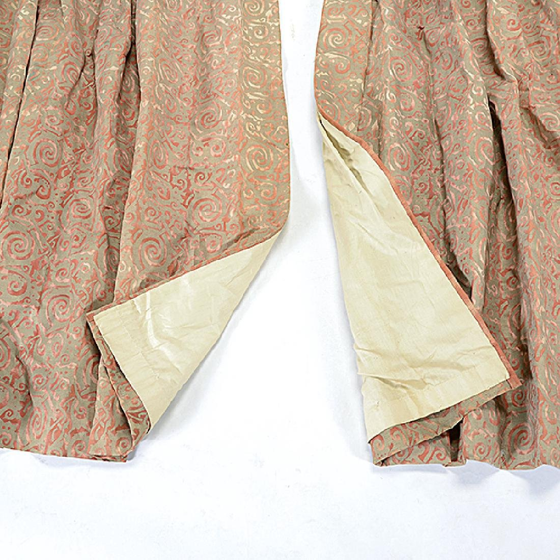 """Four Panels of Fortuny """"Maori"""" Pattern Curtains - 3"""