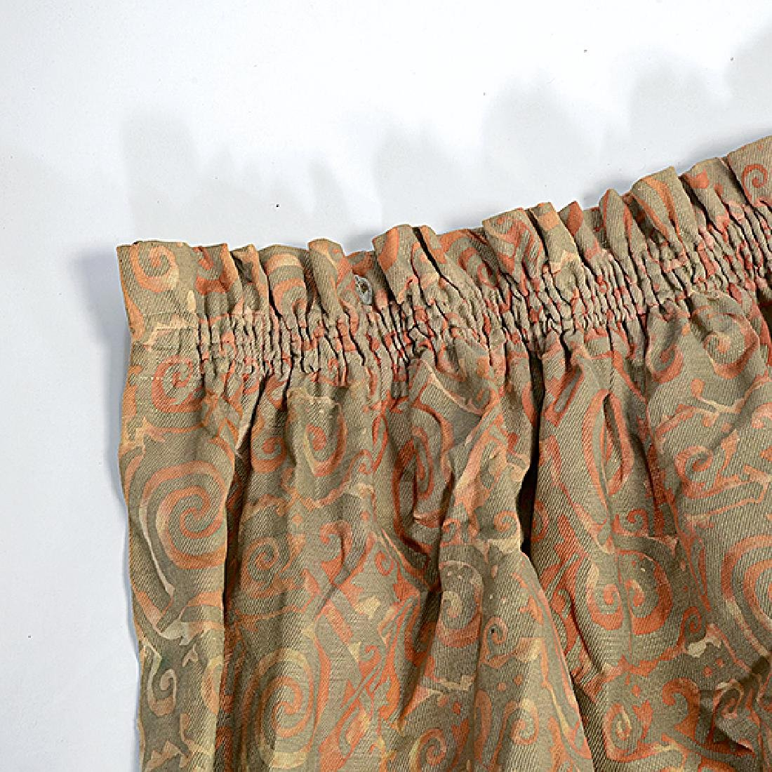 """Four Panels of Fortuny """"Maori"""" Pattern Curtains - 4"""