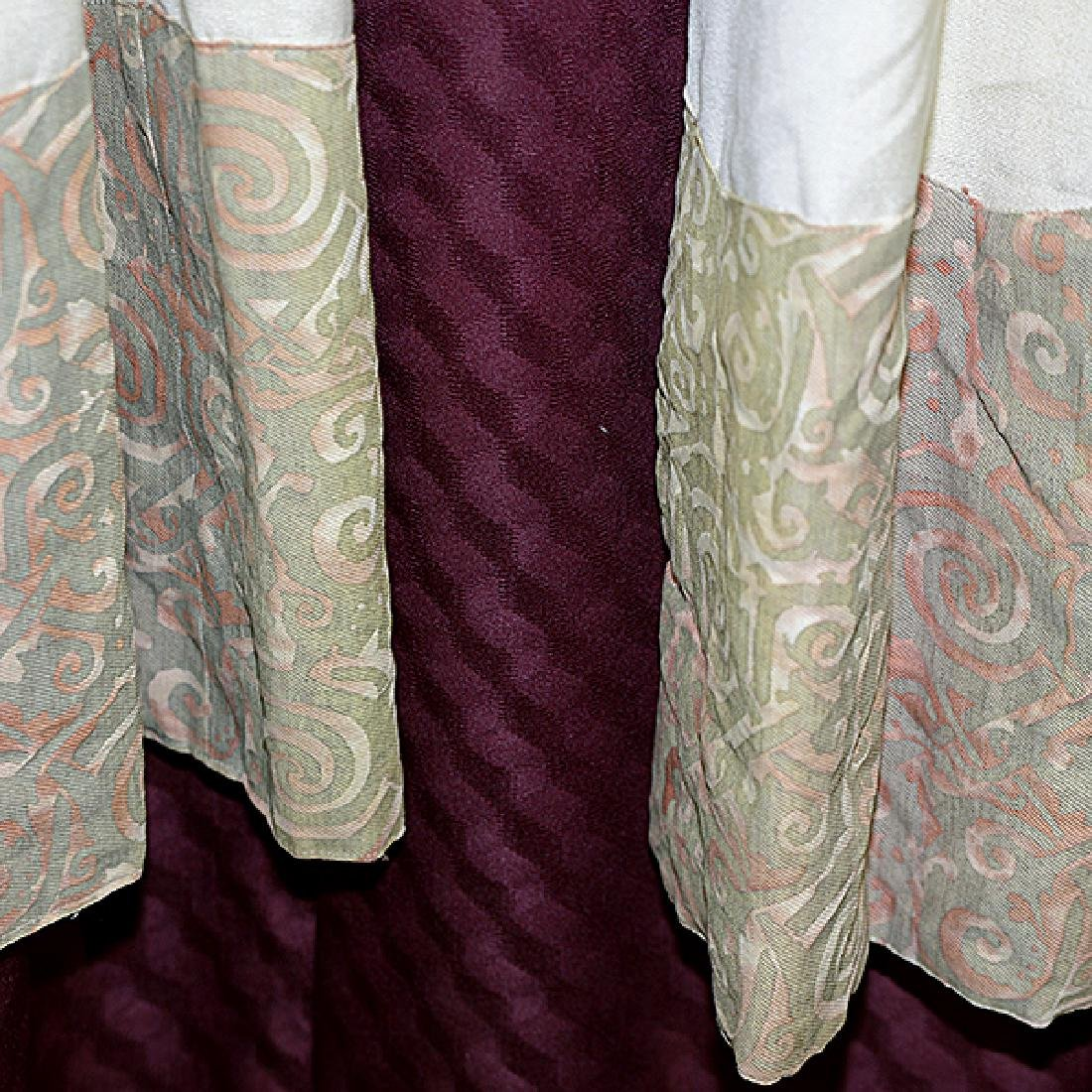 """Four Panels of Fortuny """"Maori"""" Pattern Curtains - 7"""