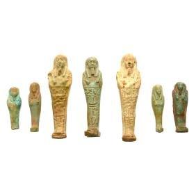 Seven Egyptian Faience Ushabti Figures