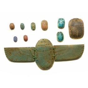 Egyptian Revival Winged Faience Scarab