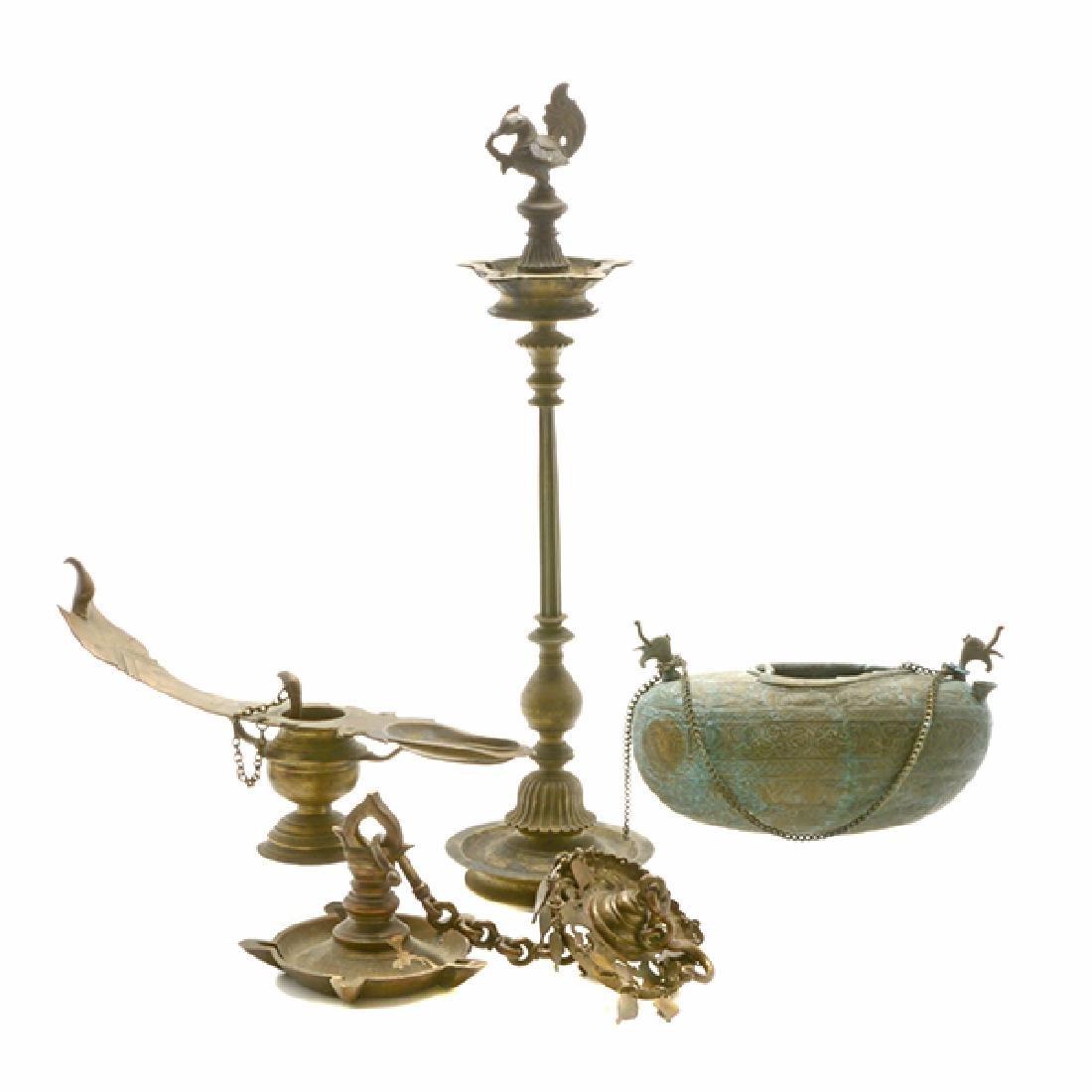 Four Mediterranean or Persian Gilt Brass Oil Lamps