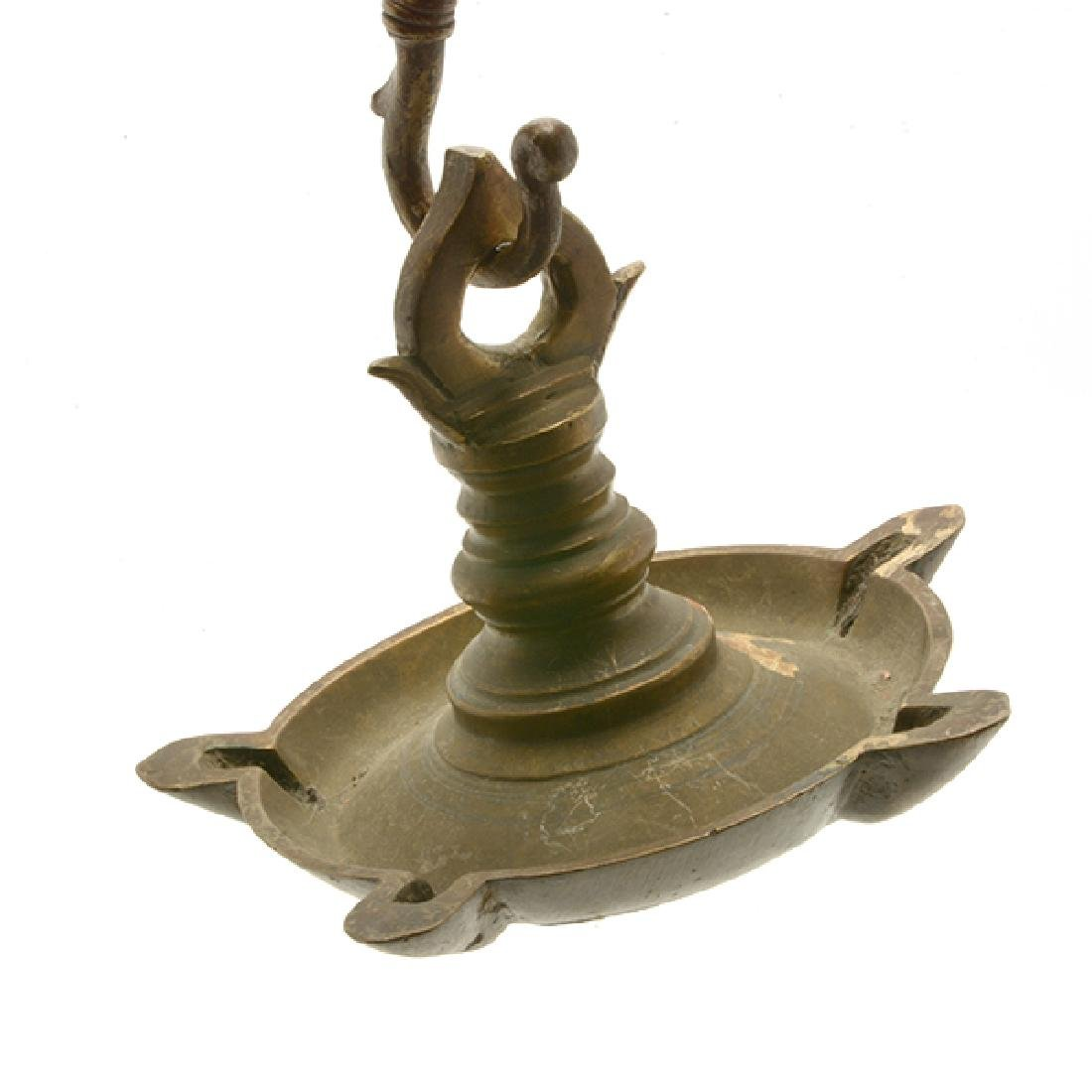 Four Mediterranean or Persian Gilt Brass Oil Lamps - 7