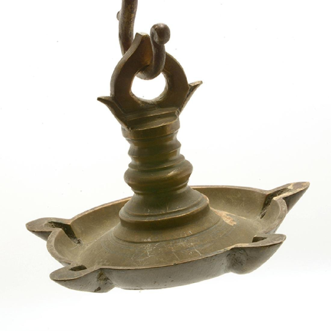 Four Mediterranean or Persian Gilt Brass Oil Lamps - 8