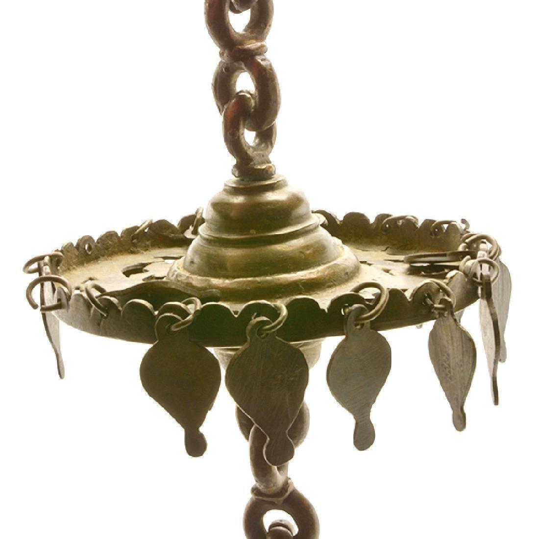 Four Mediterranean or Persian Gilt Brass Oil Lamps - 9
