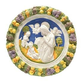 Italian Majolica Plaque of Madonna and Child
