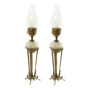 Pair of French Cut Glass Tripod Oil Lamps