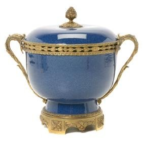 French Gilt Bronze Mounted Blue Souffle Covered Bowl