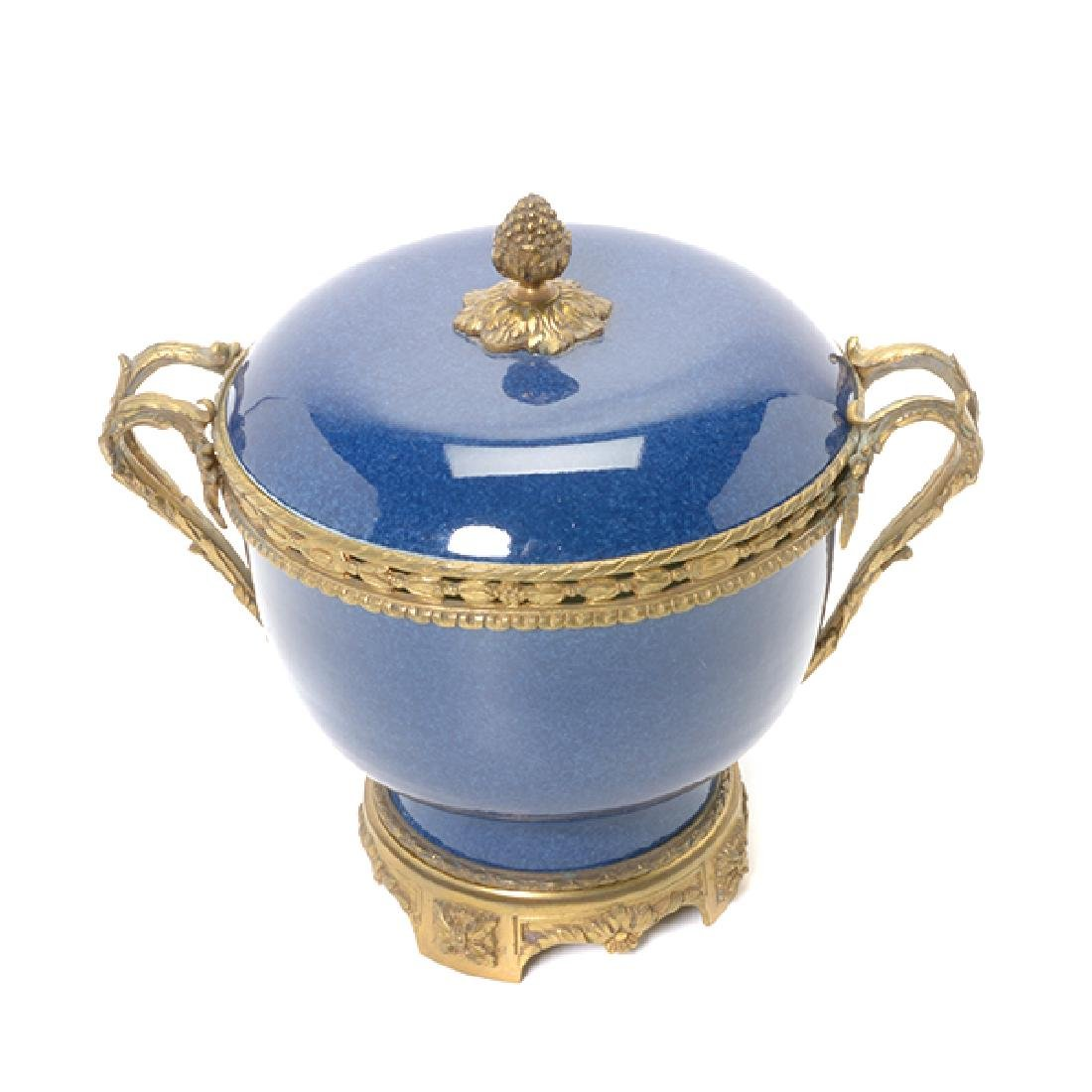 French Gilt Bronze Mounted Blue Souffle Covered Bowl - 2
