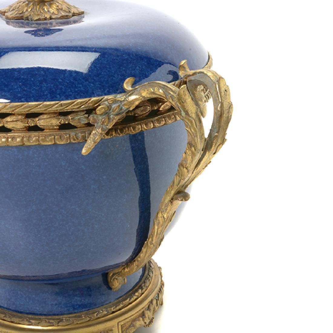 French Gilt Bronze Mounted Blue Souffle Covered Bowl - 6