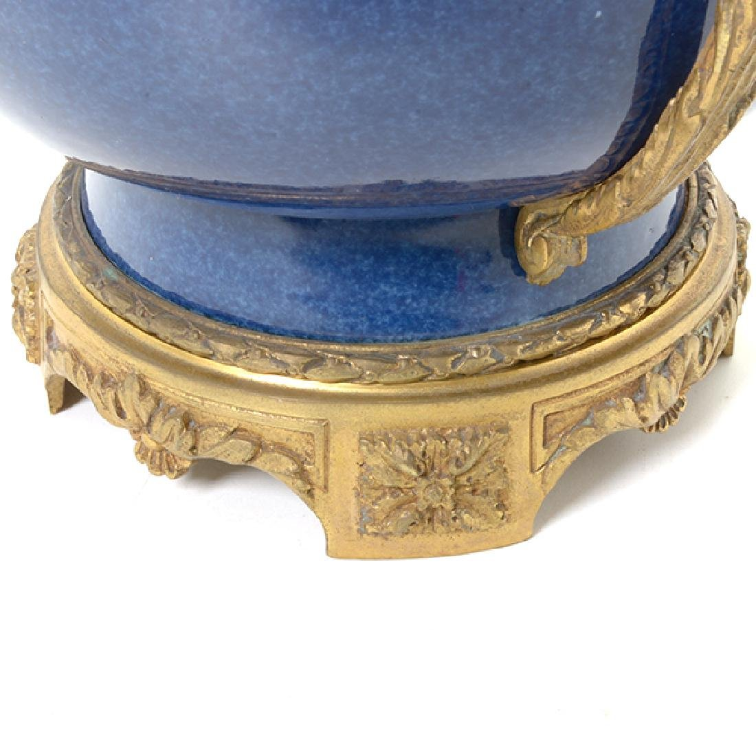 French Gilt Bronze Mounted Blue Souffle Covered Bowl - 7