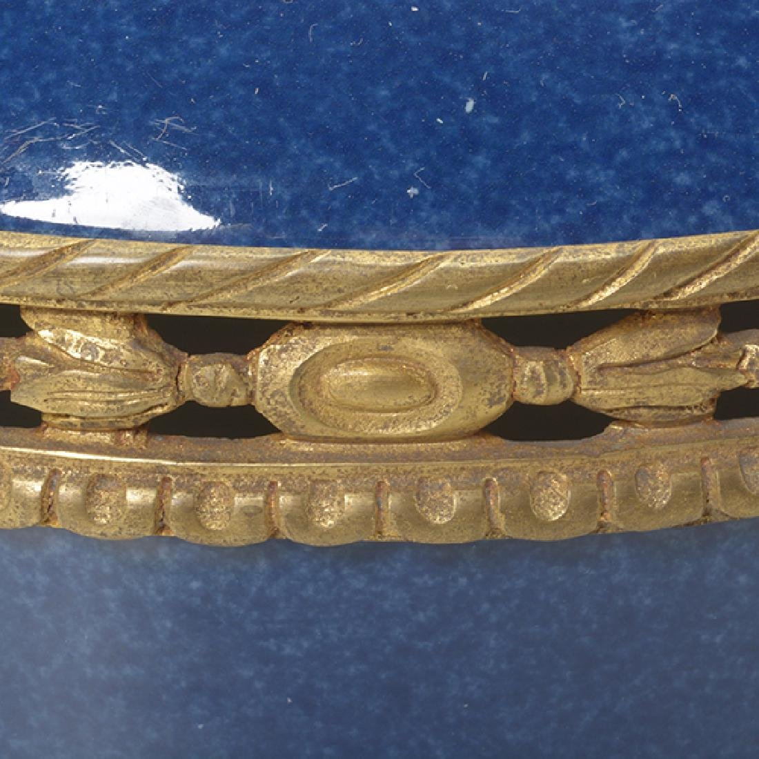 French Gilt Bronze Mounted Blue Souffle Covered Bowl - 8