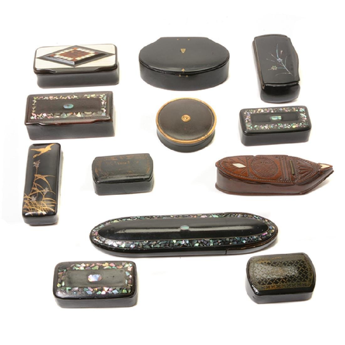 Collection of Victorian Miniature Lacquered and Carved