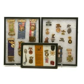 Twenty Seven Military or Fraternal Medals, Ribbons, and