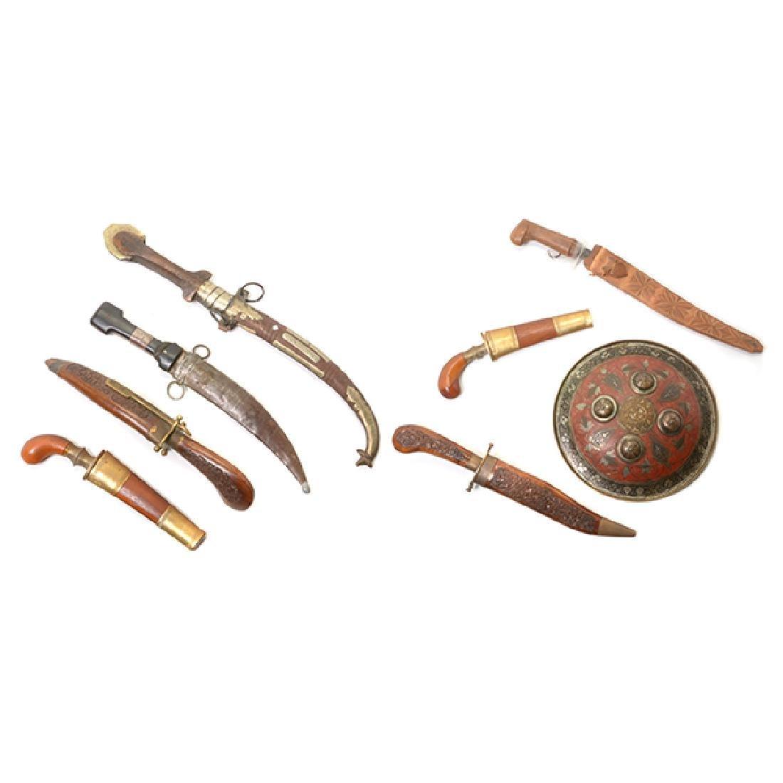 Seven Handmade Daggers and an Indian Shield