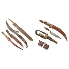 Six Handmade Daggers and One Machete