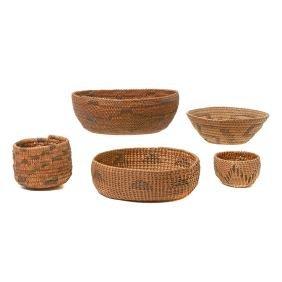 Five Southwest Native American Baskets