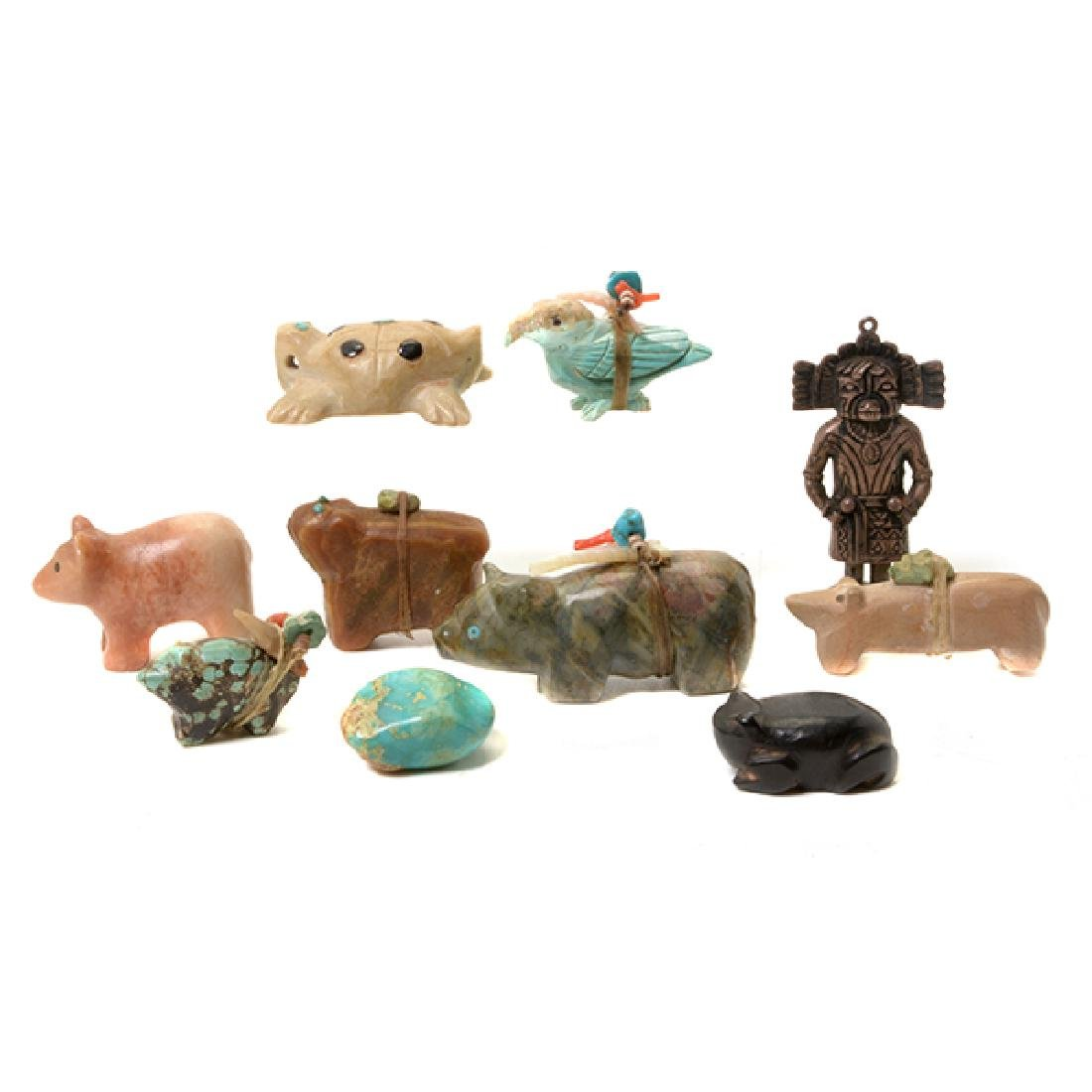 Ten Zuni Stone Animal Form Fetishes and Silver Figure