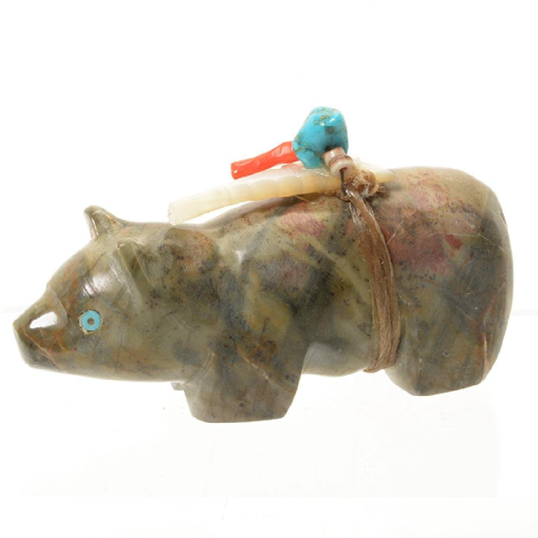 Ten Zuni Stone Animal Form Fetishes and Silver Figure - 4