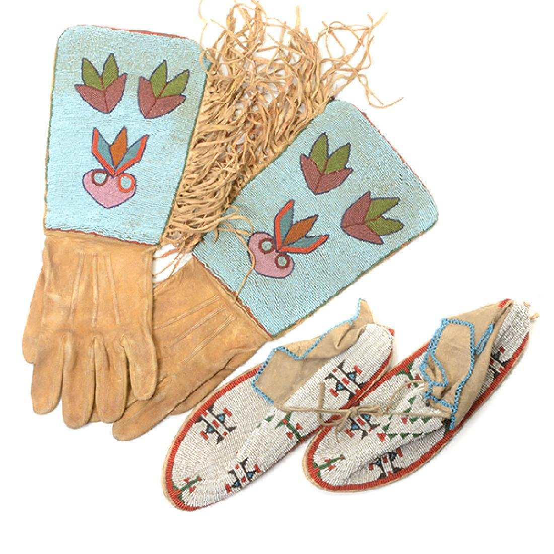 Pair of Northern Plains Beaded Gloves and Moccasins