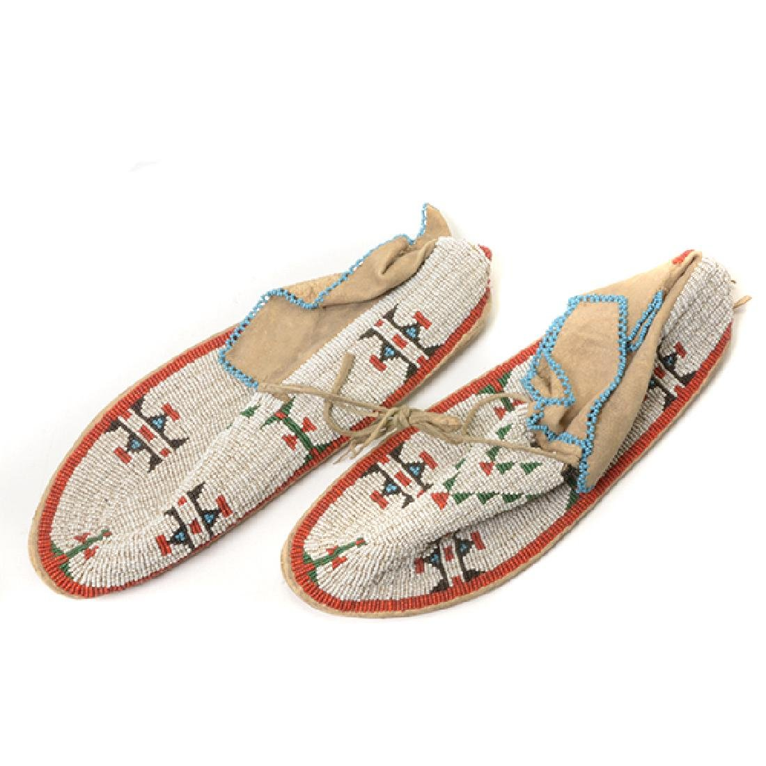 Pair of Northern Plains Beaded Gloves and Moccasins - 2