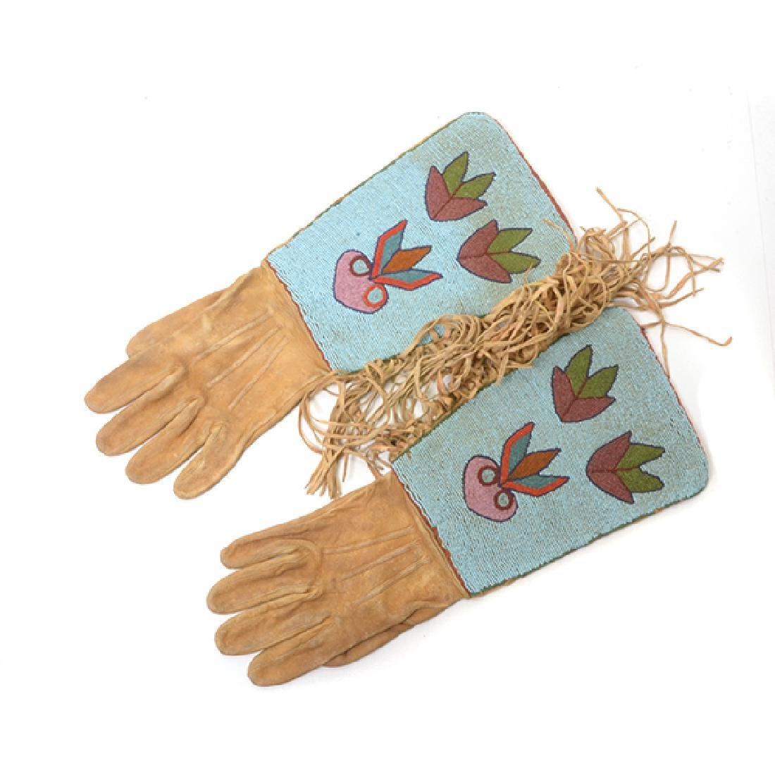Pair of Northern Plains Beaded Gloves and Moccasins - 4
