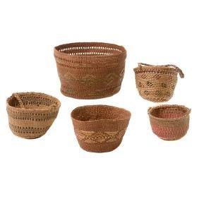 Three Northwest Baskets with Two Tlingit Baskets