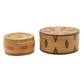 Alaskan Inuit Lidded Basket with Small Makah Lidded