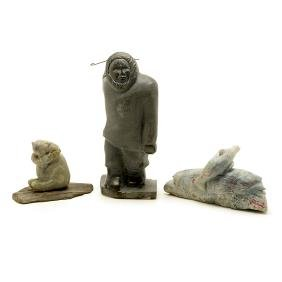 Three Inuit Style Soapstone Carvings by Reba Shepard