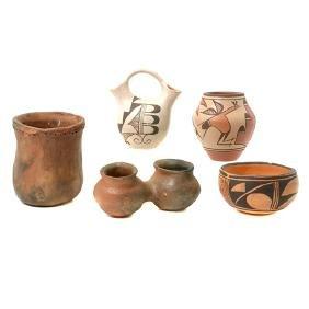 Five Southwest Pottery Vessels