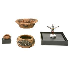 Three Miniature Indian Baskets and Miniature Kachina