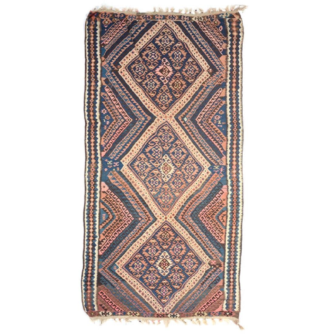 Qasqai Kilim Carpet: 4 feet 8 inches x 9 feet 11 inches