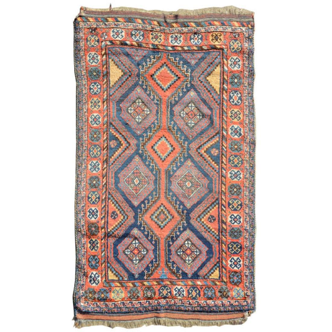 Caucasian Rug in a Geometric: 4 feet 8 inches x 7 feet