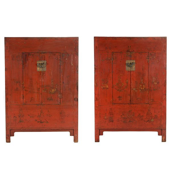 A Pair of Painted and Red Lacquer Cabinets